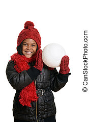 happy child with giant snowball - isolated happy child with...