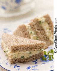 Egg and Cress Sandwich on Brown Bread with Afternoon Tea