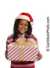 young jamaican girl holding gift