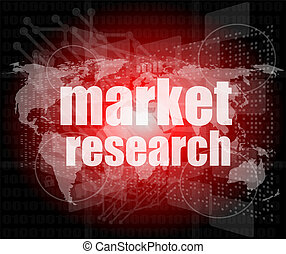 Pixeled word Market research on digital screen 3d