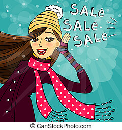 Winter shopping sale discounts vector illustration