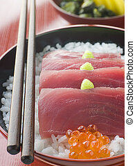 Sashimi of Yellow Fin Tuna on Rice with Salmon Roe Pickles...