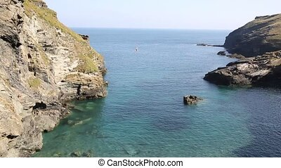 Tintagel bay Cornwall by castle UK - Tintagel beach and bay...