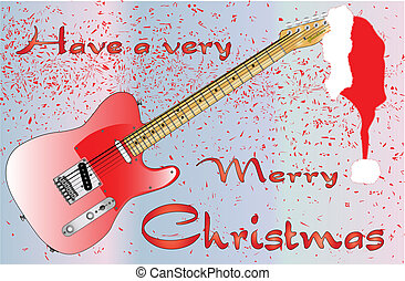 Rocking Christmas - A rock guitar Christmas card with merry...