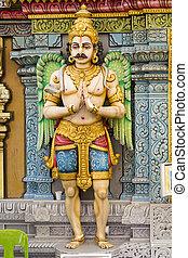 hindú, hombre, Mirar, dios, estatua