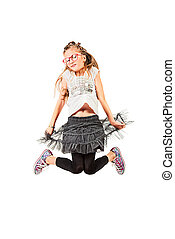 over white - Cheerful girl is jumping. Isolated over white.