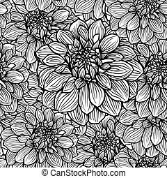 Hand drawn Dahlia flower - Seamless background with hand...
