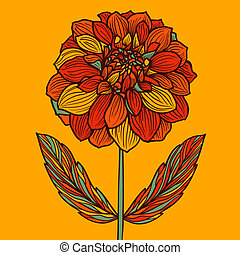 Hand drawn Dahlia flower Colorful vector illustration