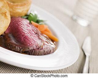 Roast Topside of British Beef with Yorkshire Pudding and...