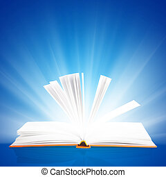 open book with light insideout on blue background