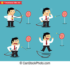 Business goal statuses vector illustration