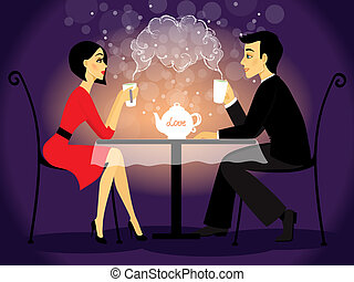 Dating couple scene, love confession vector illustration