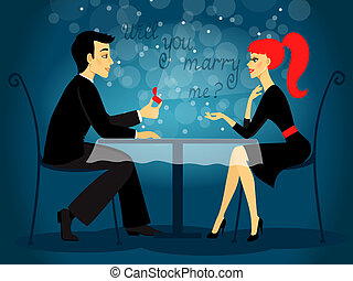 Will you marry me, marriage proposal vector illustration