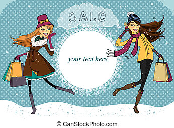Winter holiday shopping promo banner vector illustration