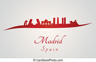 Madrid skyline in red and gray background in editable vector...