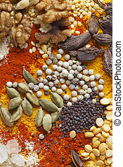Nuts pulses and spices
