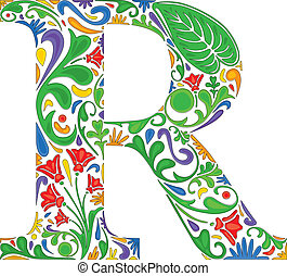 Floral R - Colorful floral initial capital letter R