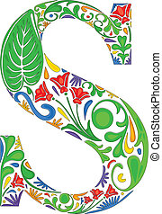 Floral S - Colorful floral initial capital letter S