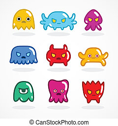 Retro video game monsters set vector illustration
