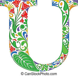 Floral U - Colorful floral initial capital letter U
