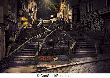 Staircase with graffiti in Beyoglu district of Istanbul,...