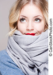 Cute winter fashion girl. - Portrait of a colorful cute...