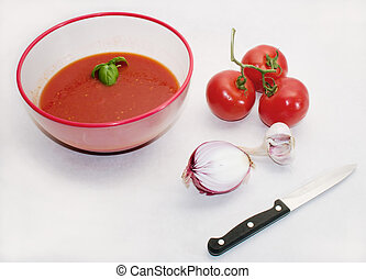 tomato sauce ingredients: garlic, onion, tomato preparing...