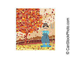 smiling redneck in Autumn landscape