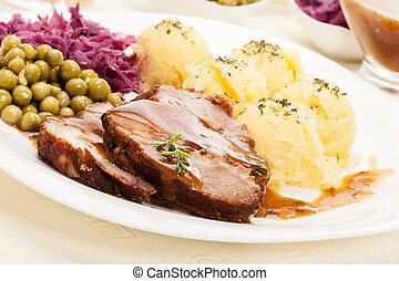 Roast pork with sauce