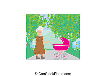 old lady pushing a stroller in the park
