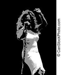 singer 1 - female singer on stage during jazz festival