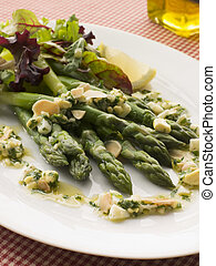 Asparagus Spears with Polonaise Vinaigrette and Salad Leaves