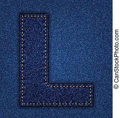 Jeans alphabet letter L - Denim letter L Jeans alphabet...