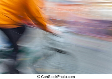 cyclist in motion blur - Abstract image of cyclist in motion...
