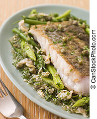 Fillet of Hake with Cockles Green Vegetables and Salsa Verde