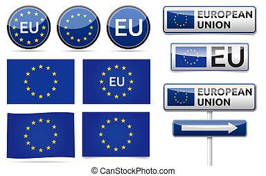 European EU flag collection - European union flag, traffic...