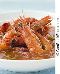 碗, Creole, 蝦, 秋葵