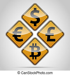 Bitcoin traffic board - Euro, Dolar, Font, Pound, Bitcoin...