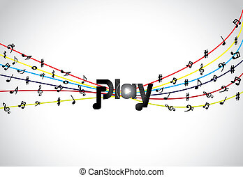 Trendy Music play icon or symbol with glowing play text art...