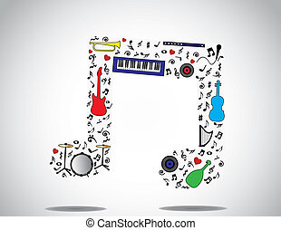music note icon made up of different musical instruments and...