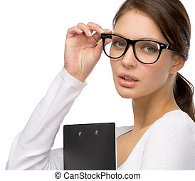 girl frame gesturing businesswoman with folder wearing glasses