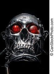 cráneo, humano, tamaño, robot