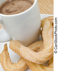 Churros, caliente, chocolate