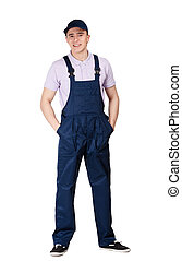 Workman in overalls - Workman in blue overalls and peaked...