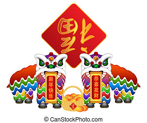 Chinese Lion Dance Pair with Symbols Illustration - Chinese...