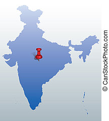 blue map of India with red push pin
