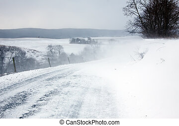 Blowing Snow - Snow blowing over a rural road in...