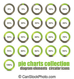 rings set - new collection of percentage diagram...