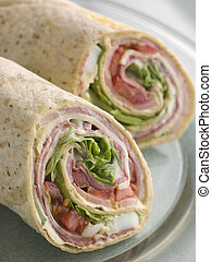 Deli Tortilla Wrap Cut in Half