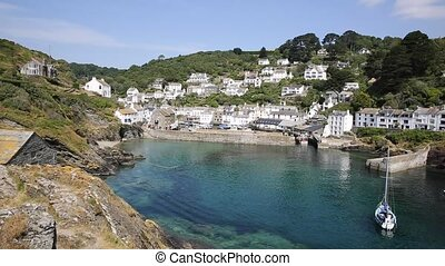 Polperro harbour Cornwall UK - Polperro fishing village...